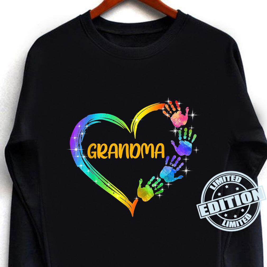 Grandma Heart with Colorful Handprint for Mothers Birthday Shirt long sleeved