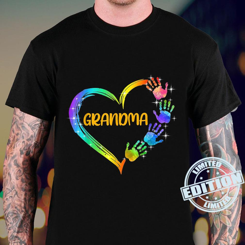 Grandma Heart with Colorful Handprint for Mothers Birthday Shirt sweater