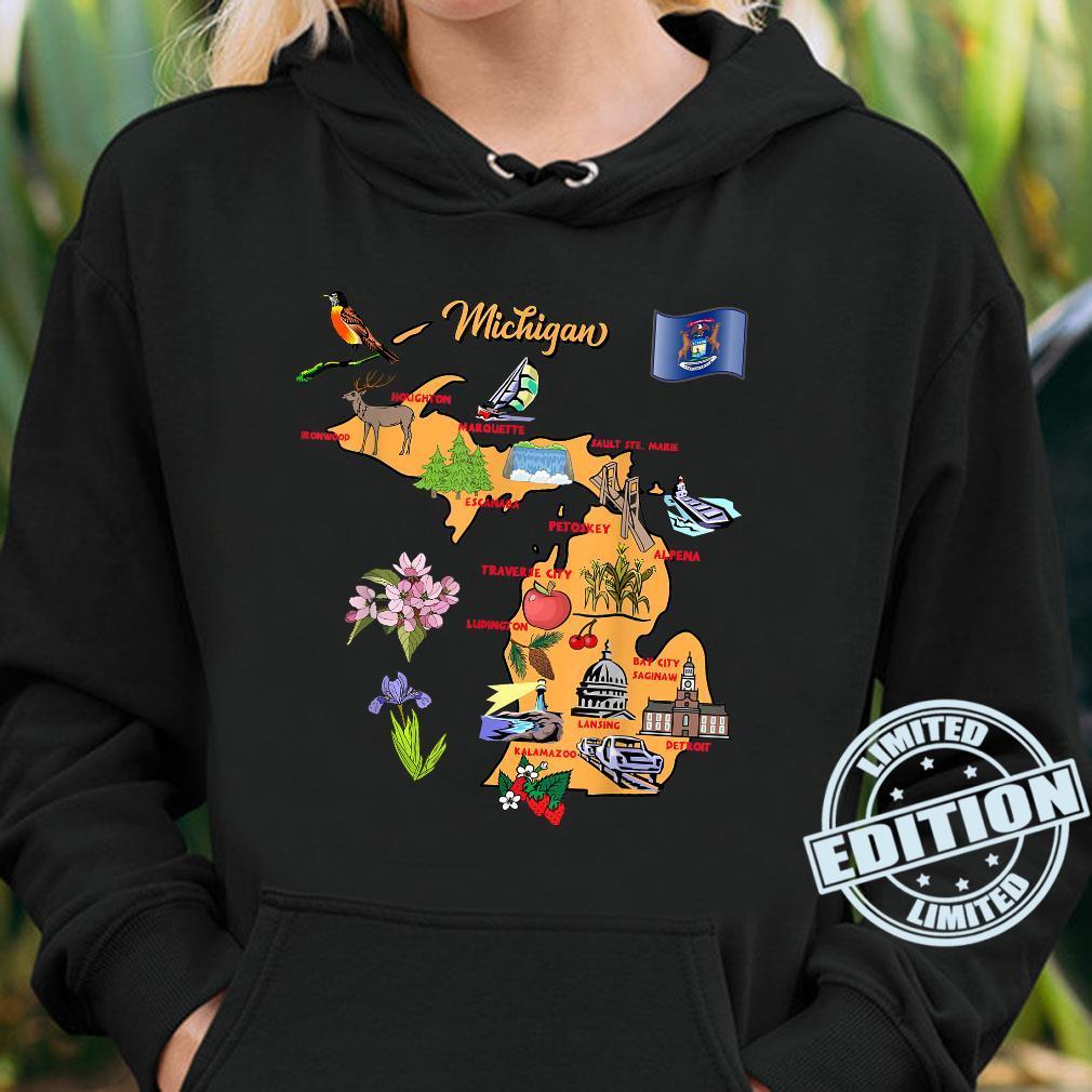 Michigan Touristenkarte mit Sehenswürdigkeiten und berühmten Symbolen, USA Shirt hoodie