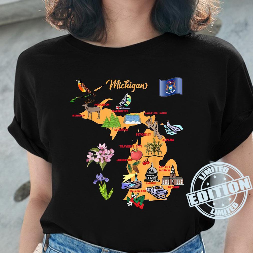 Michigan Touristenkarte mit Sehenswürdigkeiten und berühmten Symbolen, USA Shirt ladies tee