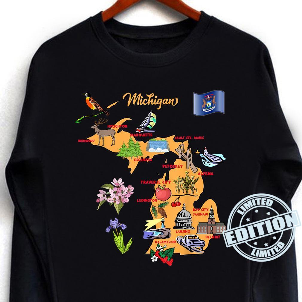 Michigan Touristenkarte mit Sehenswürdigkeiten und berühmten Symbolen, USA Shirt long sleeved