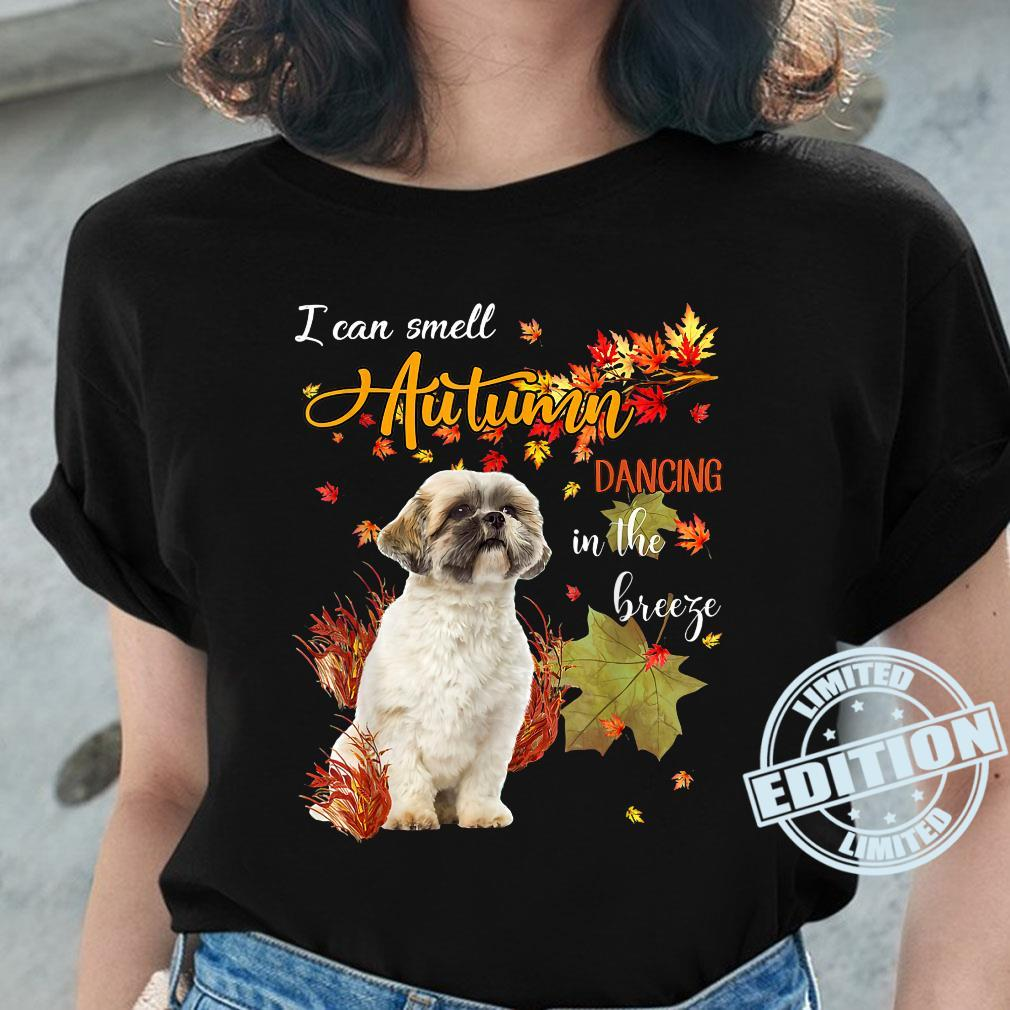 Shih Tzu Dog I Can Smell Autumn Dancing In The Breeze Shirt ladies tee