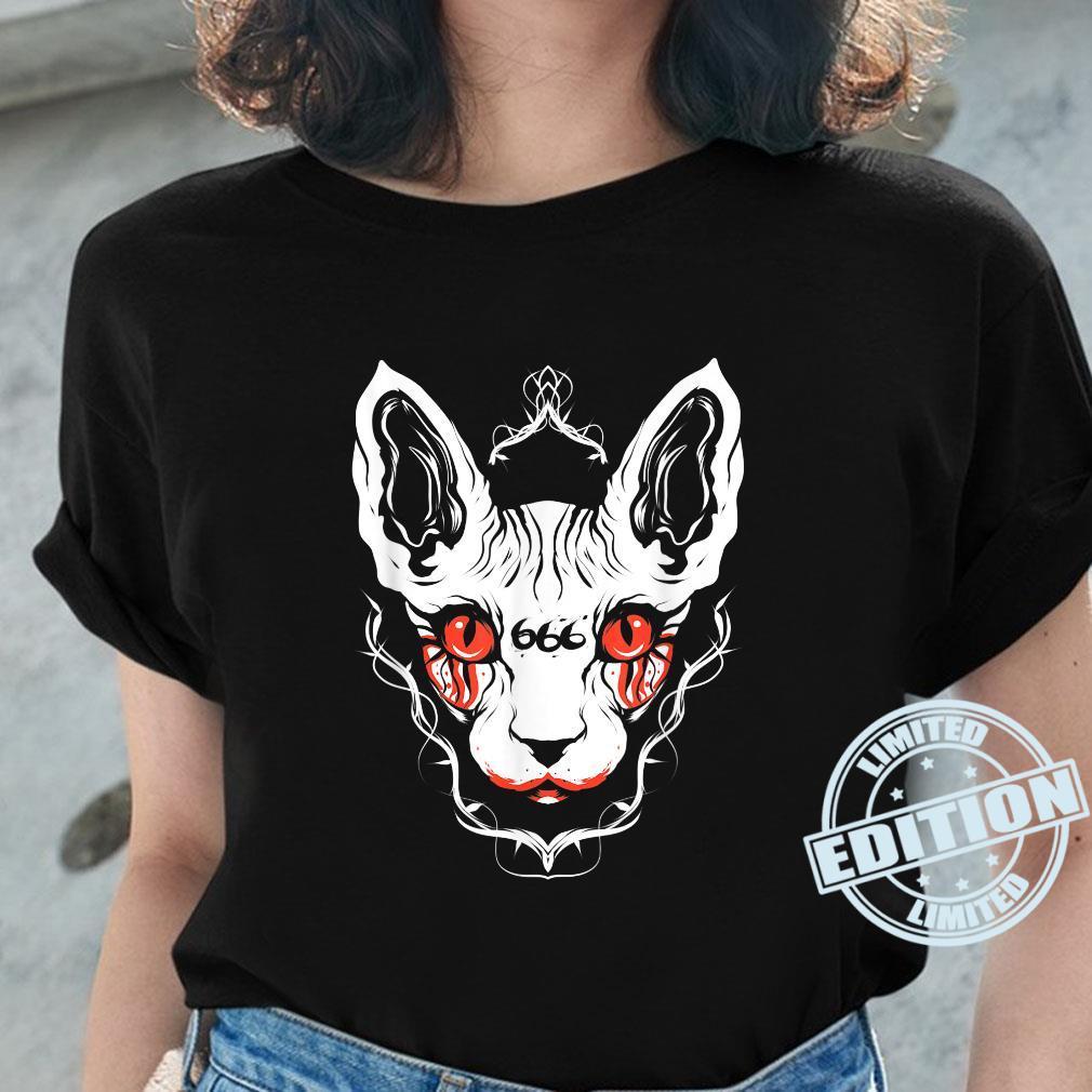 Sphynx Cat Goth Death Metal Occult Pet Shirt ladies tee